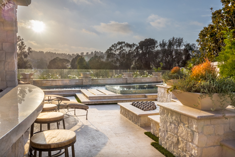 San Juan Capistrano, CA yard remodel Marbella Country Club pool, rim flow spa, fountains, patio cover, firepit & balcony